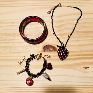 "Betsey Johnson ""Schoolgirl"" Heart Pendant Necklace"